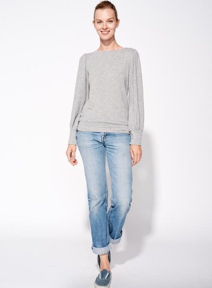 Sundry Mini Heart Puff Sleeve Top in Heather Grey
