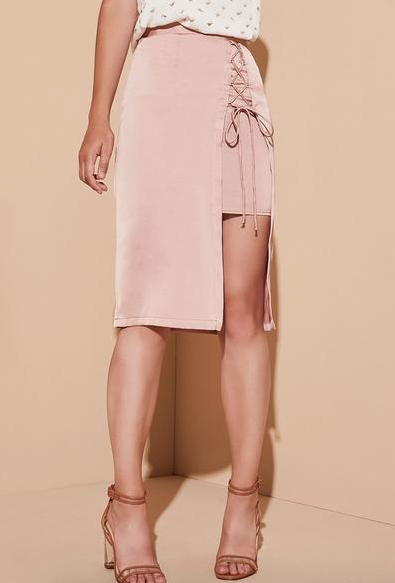 Krisa Layered Lace Up Pencil Skirt in Femme