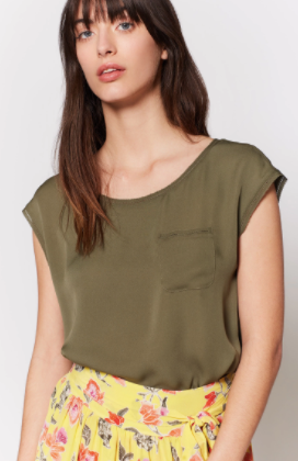 Joie Hina Silk Top in Fatigue