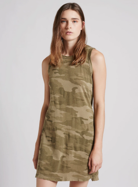 Current Elliott The Muscle Tee Dress in Army Camo
