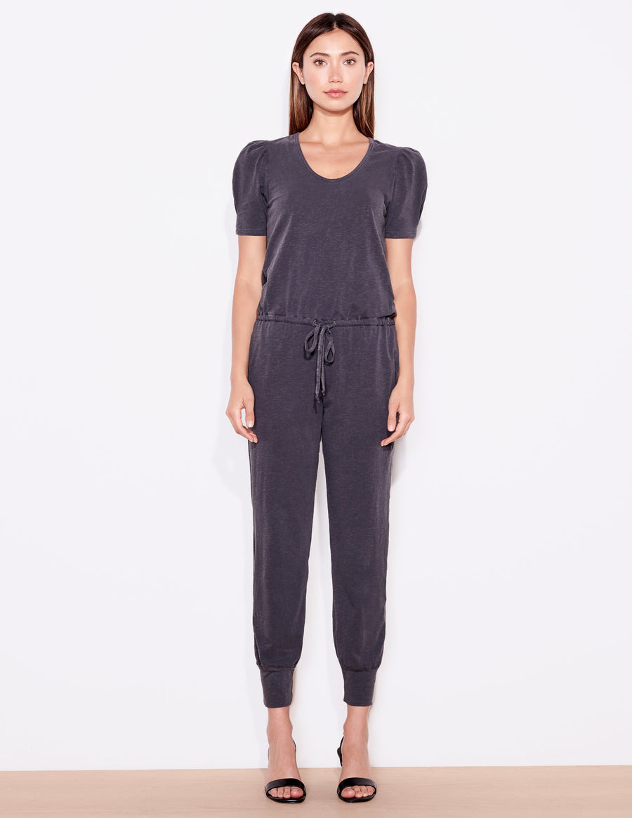 Sundry Puff Sleeve Jumpsuit in Charcoal