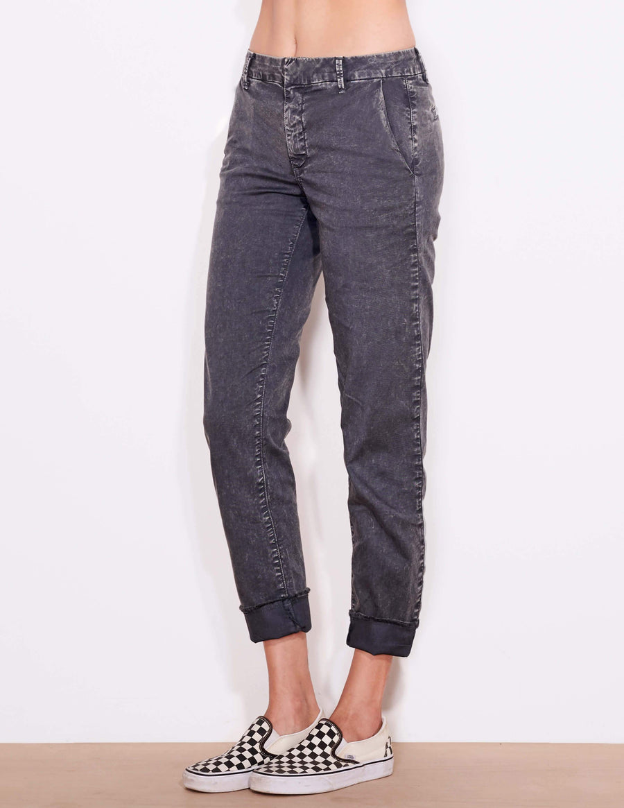Sundry Roll Up Trouser in Black Acid Wash