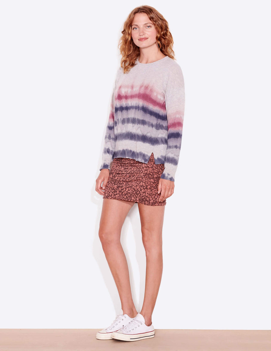 Sundry Tie Dye Stripes Crew Neck