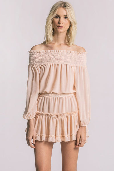 Misa Darla Chiffon Off The Shoulder Dress - Estilo Boutique