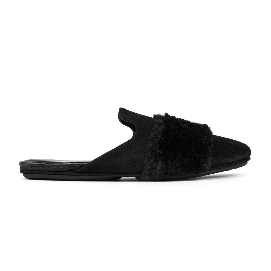 Yosi Samra Vixen Black with Fur Slide