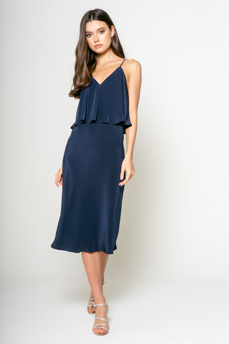 Lavender Brown Shift Midi Dress in Navy