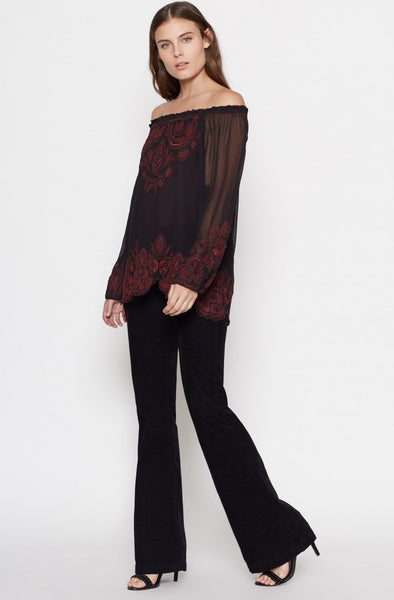 Joie Ariena Off-The-Shoulder Blouse in Caviar/Cabernet - Estilo Boutique