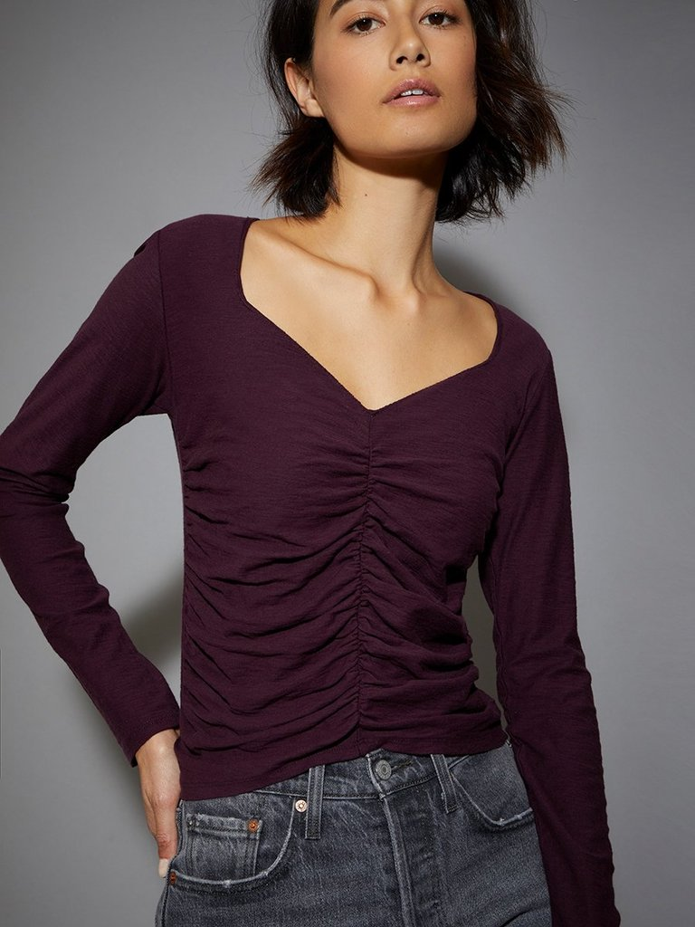 Nation Alejandra Ruched Crop Tee in Mulberry