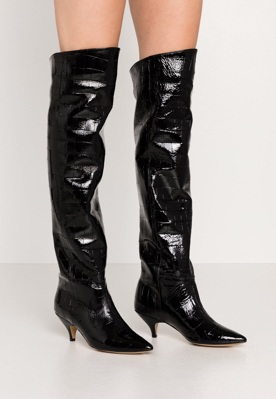 L37 Patent Crocodile Patent Leather Knee High Boot