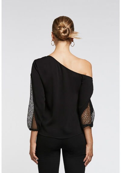 Once Was Asymmetrical Lace Sleeve Top