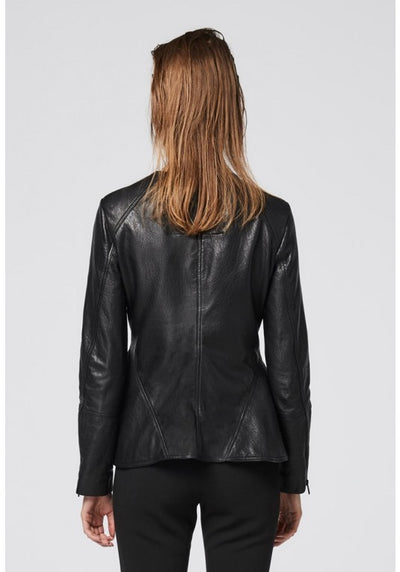 Once Was Seline Leather Peplum Jacket