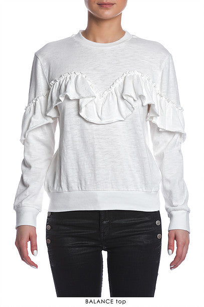 Sen Balance Long Sleeve Ruffle Top