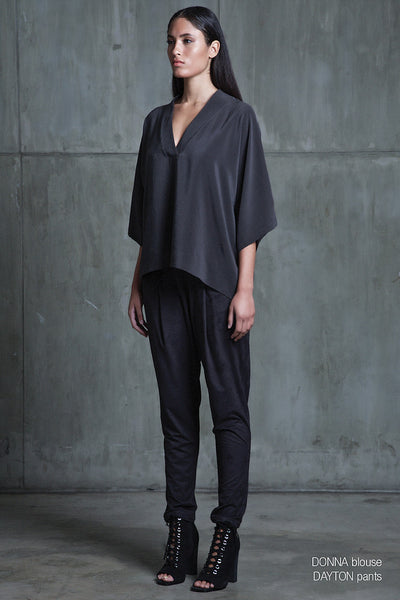 Sen Donna Kimono Top in Charcoal - Estilo Boutique