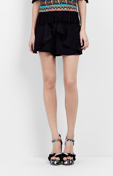Nicole Miller Ruffle Shorts in Black