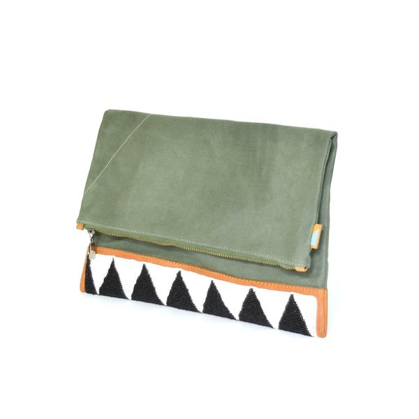 Ubuntu Maasai Beaded Portfolio Clutch in Safari Green