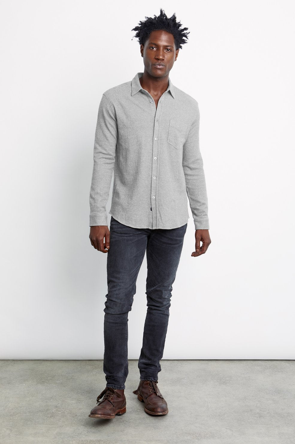 Rails Berkeley Shirt in Light Grey