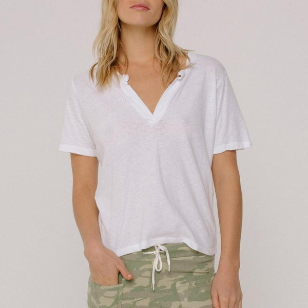 Monrow Boxy Henley in White