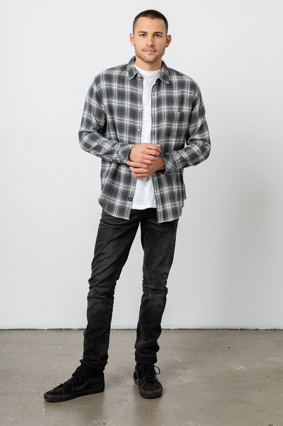 Rails Brushed Lennox Shirt in Charcoal / Grey / Cream
