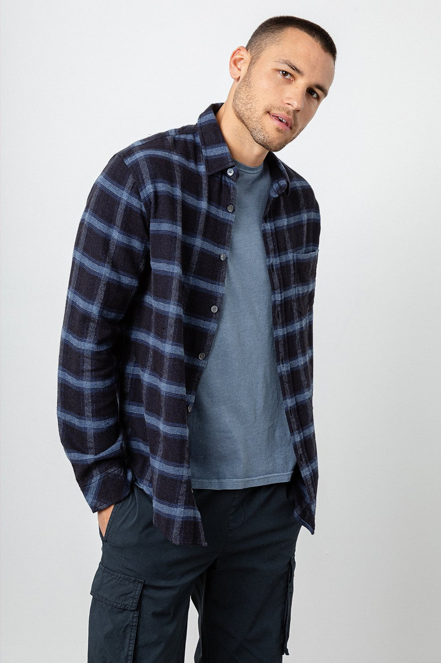 Rails Lennox Shirt in Navy Heather Blue