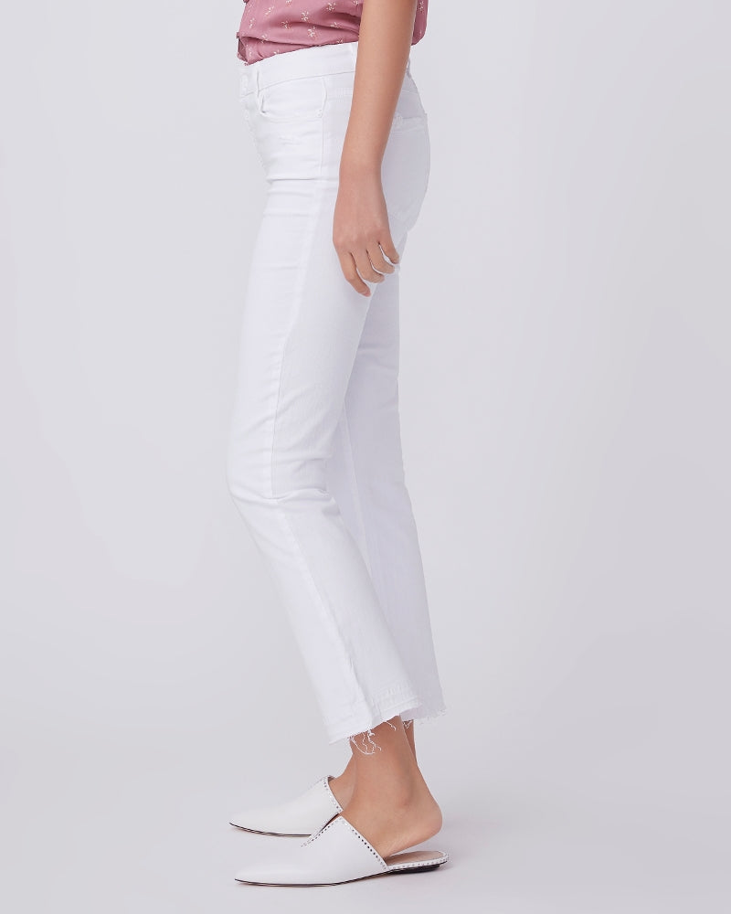Paige Cindy Crop in Cool White Distressed