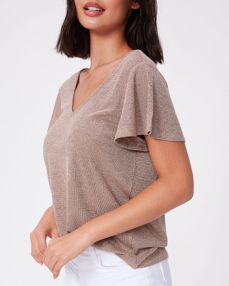 Paige Haider Tee in Nude/ Gold