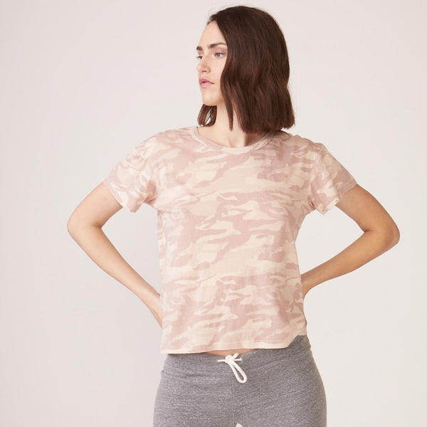 Monrow Tonal Camo Vintage Tee in Dusty Pink