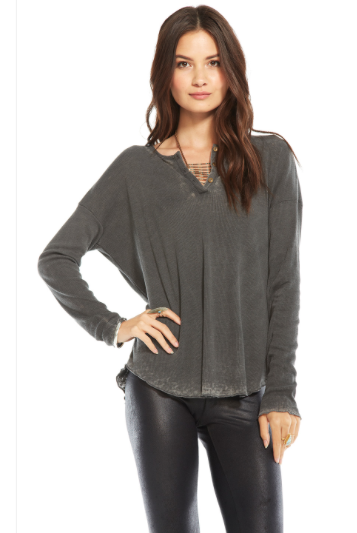 Chaser Vintage Rib L/S oversized henley tee - Estilo Boutique