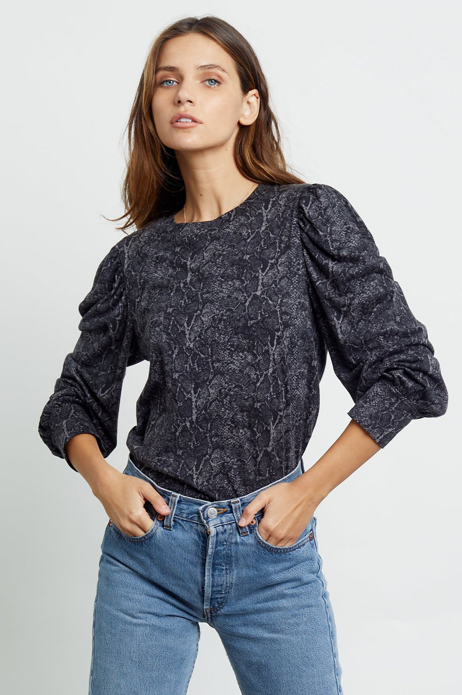 Rails Emilia Top in Charcoal Snakeskin