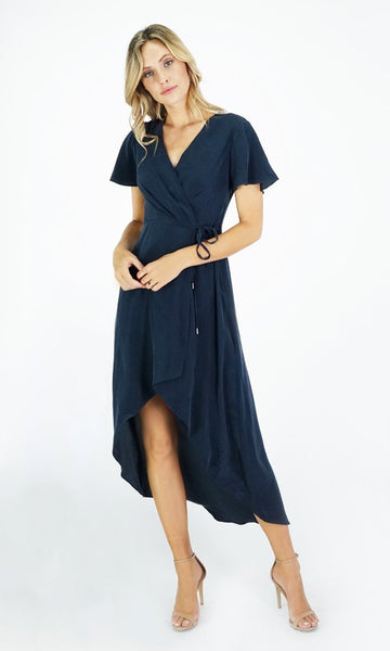 Greylin Esther Silk Wrap Front Midi Dress