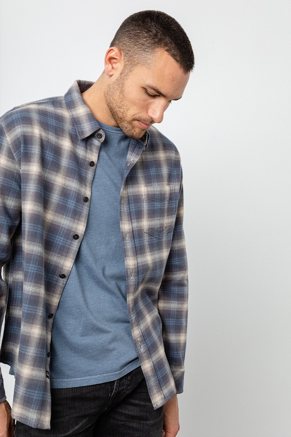Rails Forrest Shirt in Blue / Slate / Cream