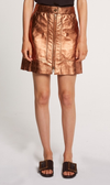 OnceWas Gilded Metallic Leather Mini Skirt