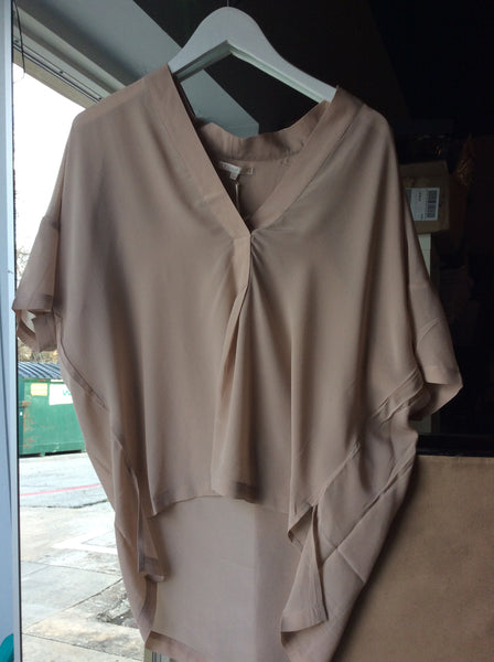 Gold Hawk silk pullover top in sand shell