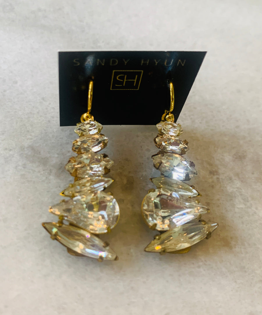 Sandy Hyun Multi Crystal Drop Earrings