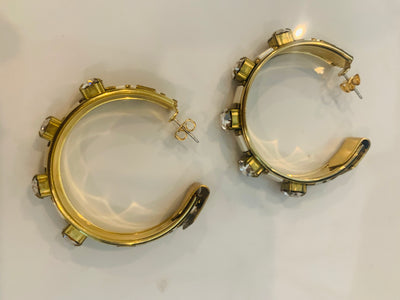 Sandy Hyun Crystal And Glass Hoops