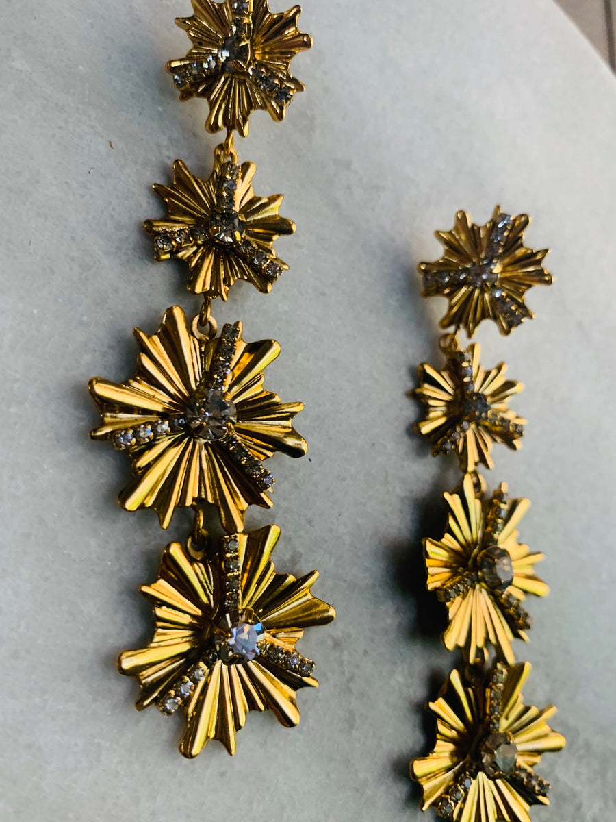 Nicole Romano Graduated Fleur Drop Earrings