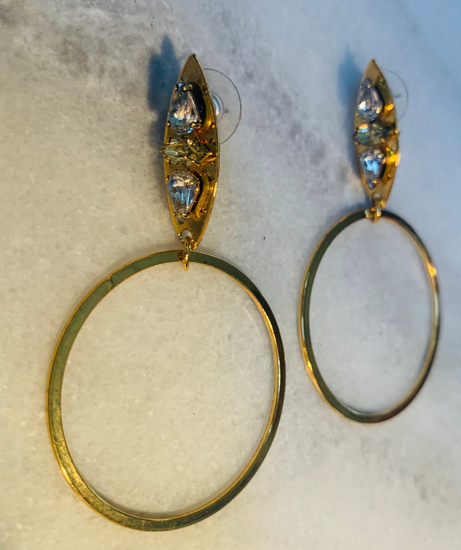 Nicole Romano Hoop and Crystal Accented Marquis Earrings in Gold