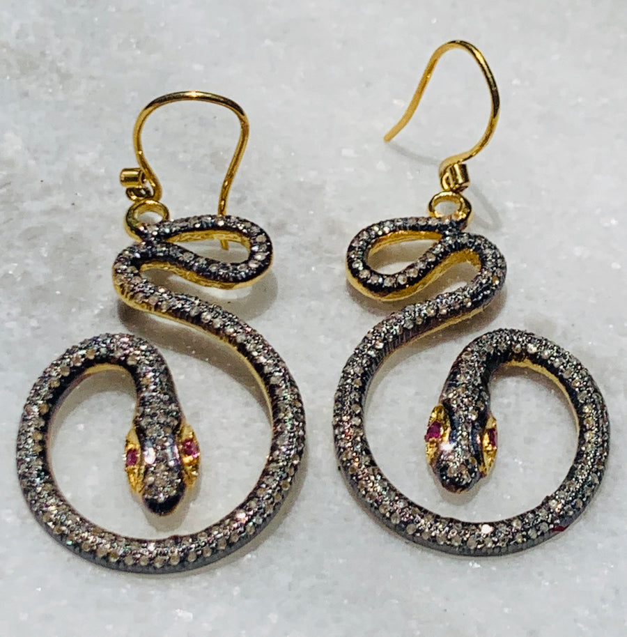 Shana Gulati Pave Diamond Snake Earrings