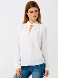 Go Silk Go Choker Blouse in White