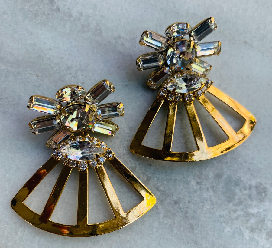 Nicole Romano Mixed Crystal and Fan Drop Earrings