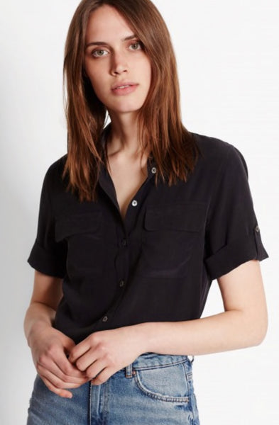Equipment Short Sleeve Signature Silk Shirt in True Black