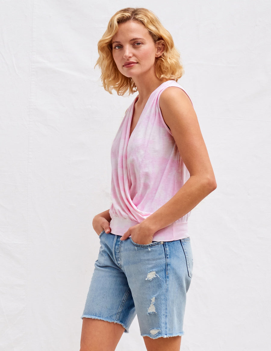 Sundry Surplice Tank in Flamingo