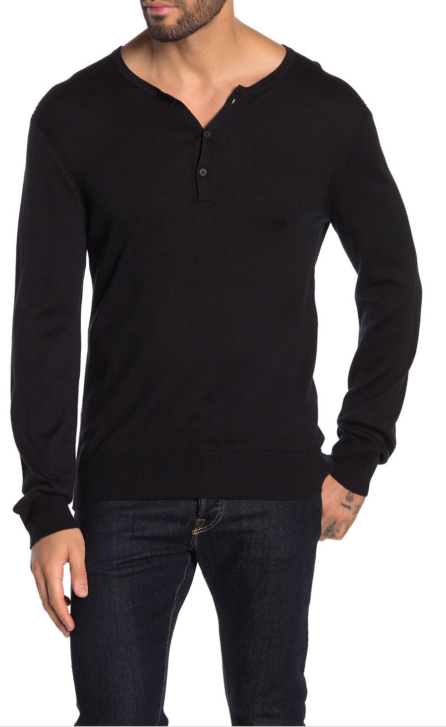 John Varvatos Long Sleeve Henley with Rib Detail
