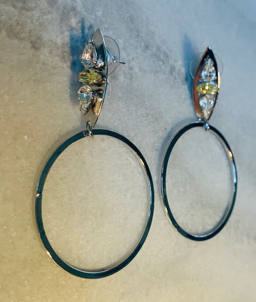 Nicole Romano Hoop and Crystal Accented Marquis Earrings in Silver