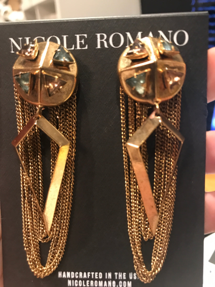 Nicole Romano Stud Button Earrings with Triangle Glass Stones