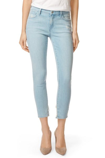J Brand 835 Mid Rise Crop Skinny in Sky Destruct