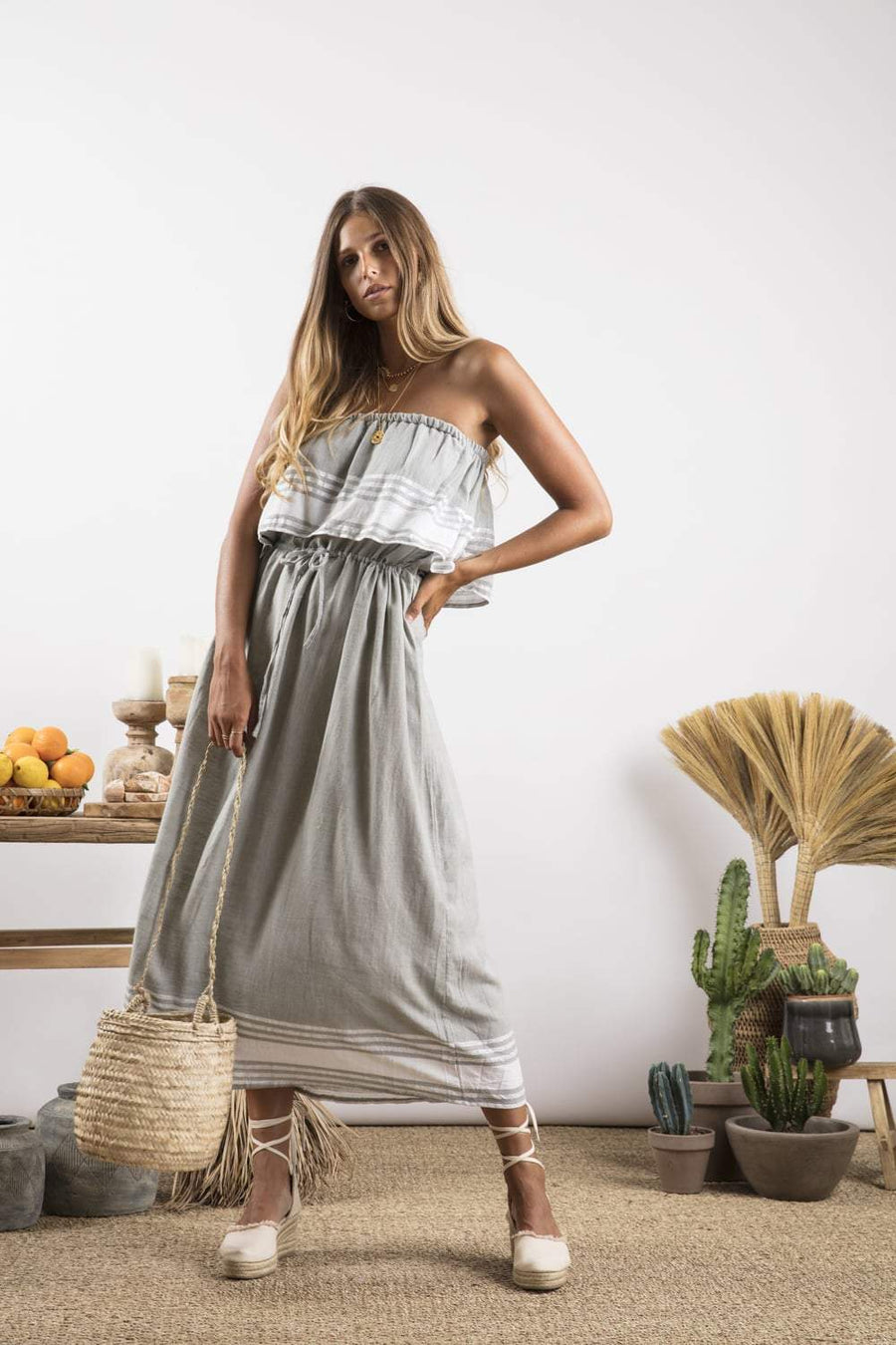 Sundress Kelly Dress in Fouta Grey