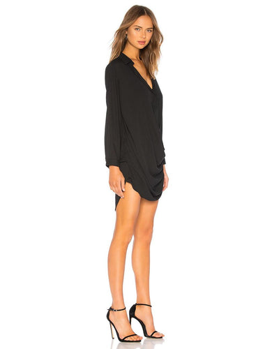 Krisa Long Sleeve Drape Mini Dress