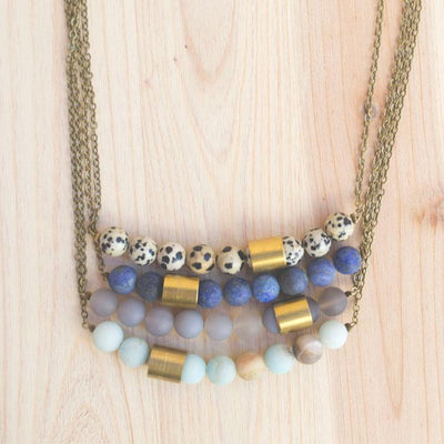 GT Mill Necklace in Grey Agate