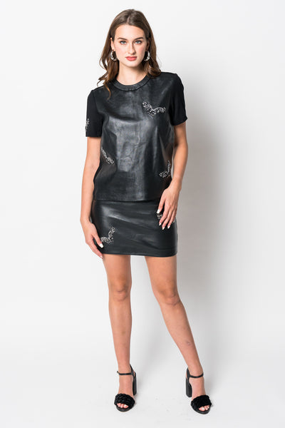 Nicole Miller Short Sleeve Leather Eagle Top