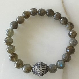 Ruby and Violet Labradorite Bracelet with Pave Bead - Estilo Boutique